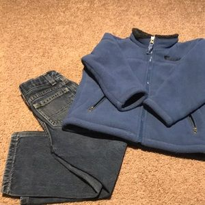 Boys 4t fleece jacket and 4t jeans